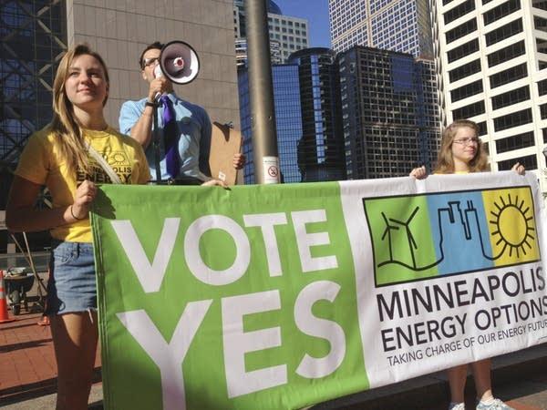 Municipal utility supporters