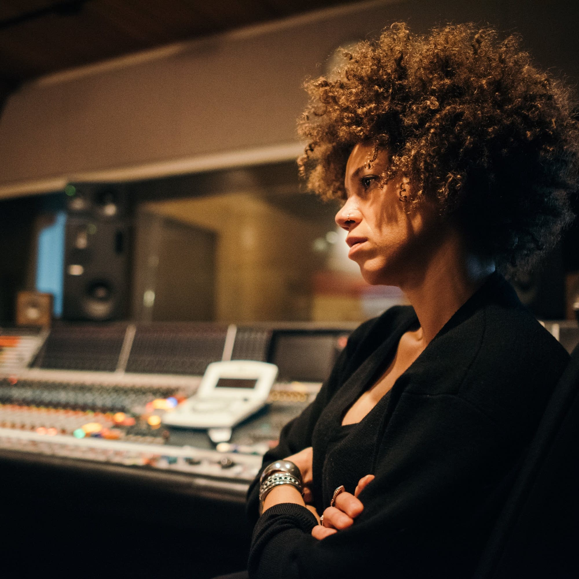 Chastity Brown listens to the mix in The Current studio