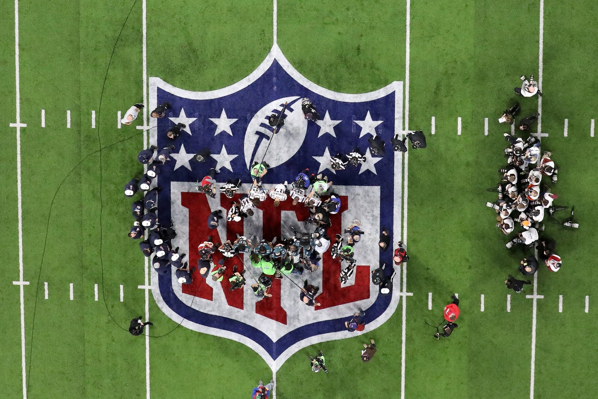 A view of the coin toss prior to Super Bowl LII.