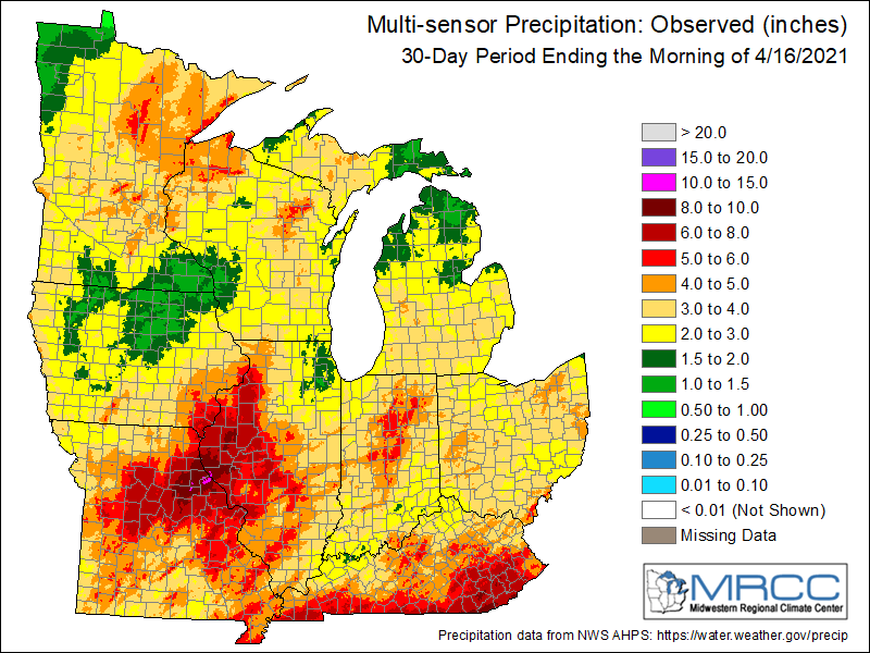 Precipitation totals over the past 30 days