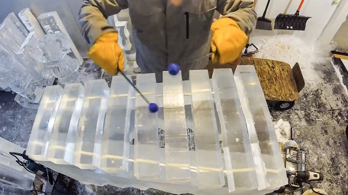 Xylophone made of ice