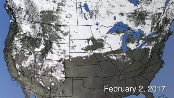 Snow cover across North America