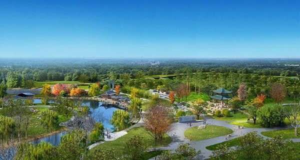Rendering of a proposed Chinese garden