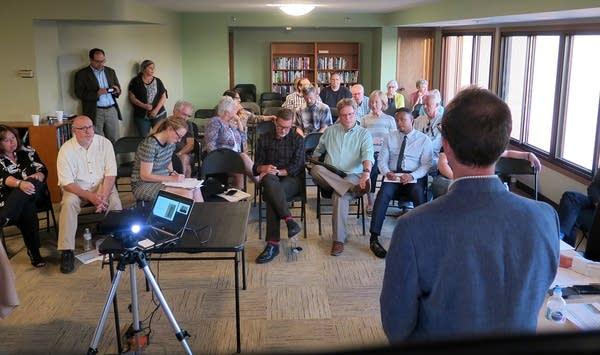 Southwest LRT Project Director Jim Alexander speaks to a group