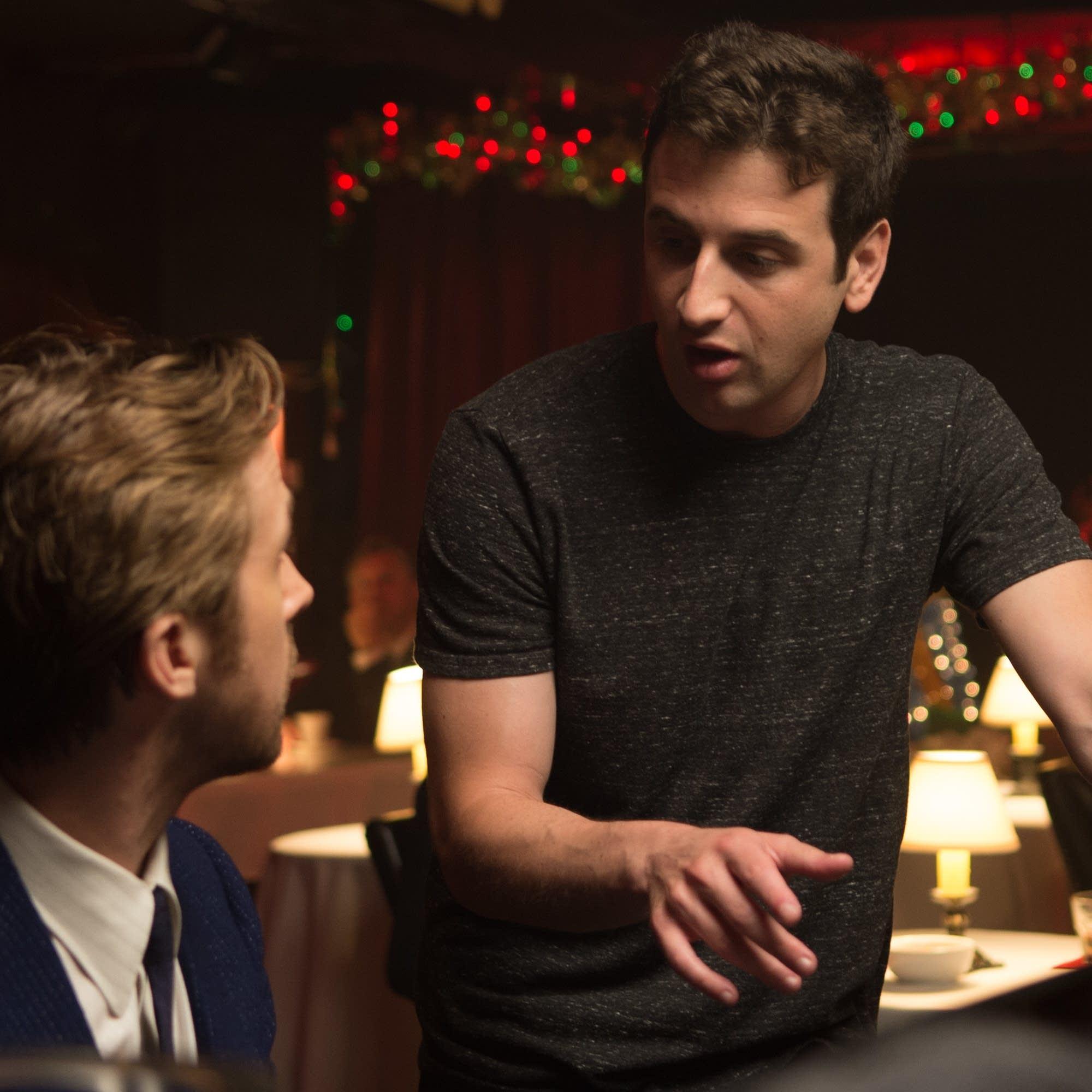 Ryan Gosling and Composer Justin Hurwitz on the set of 'La La Land.'