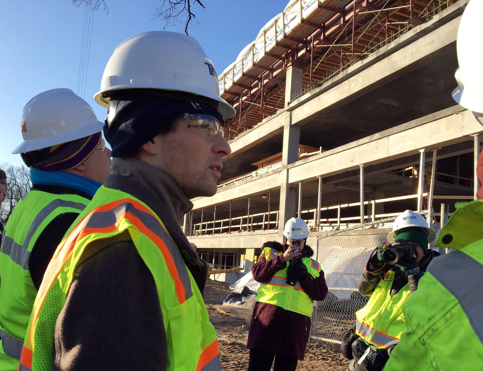 Mpls. mayor Jacob Frey gets a tour of the Thor construction hq project.