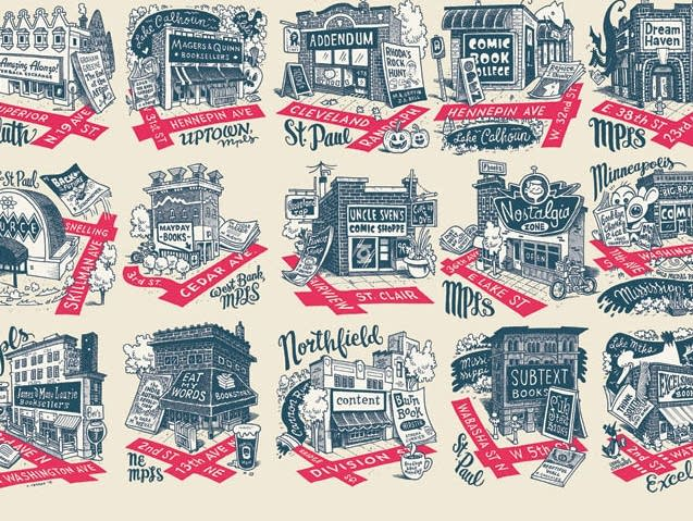 Illustrations of Minnesota bookstores