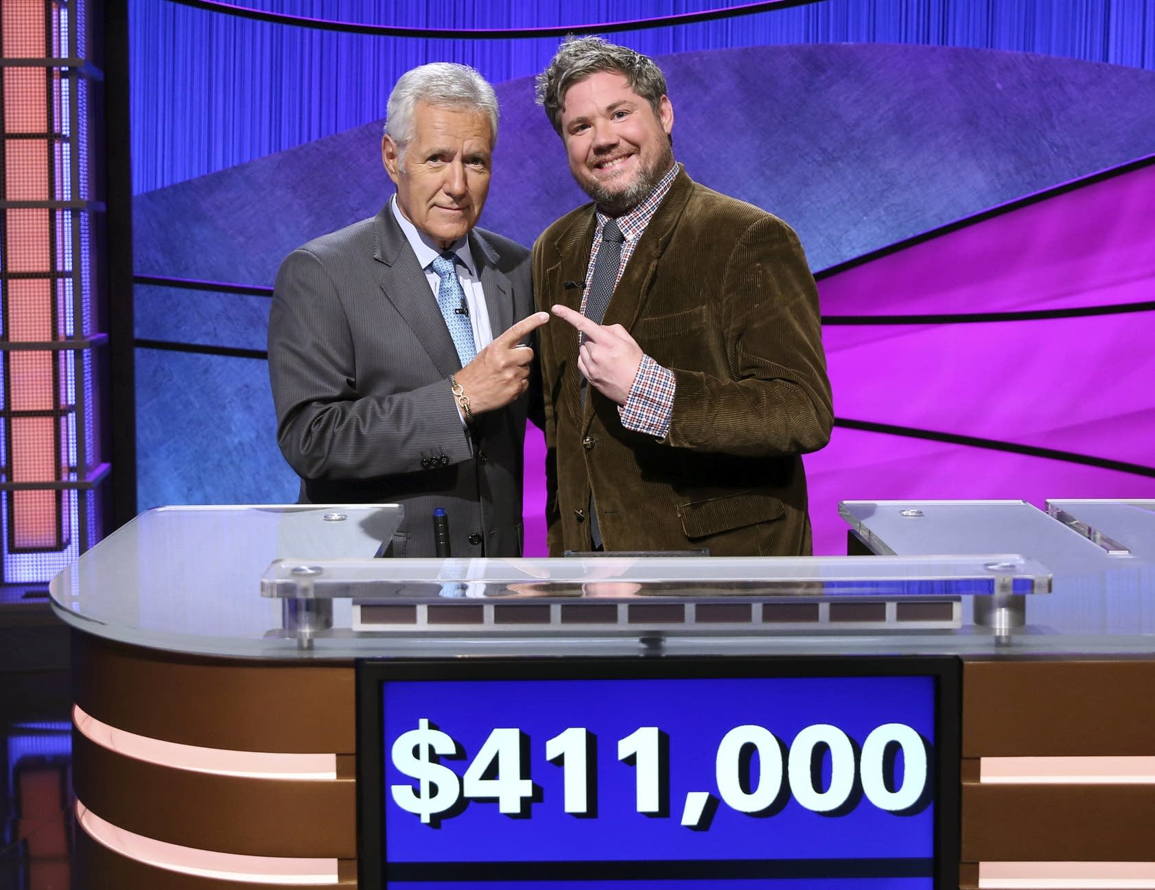 Alex Trebek and Austin Rogers