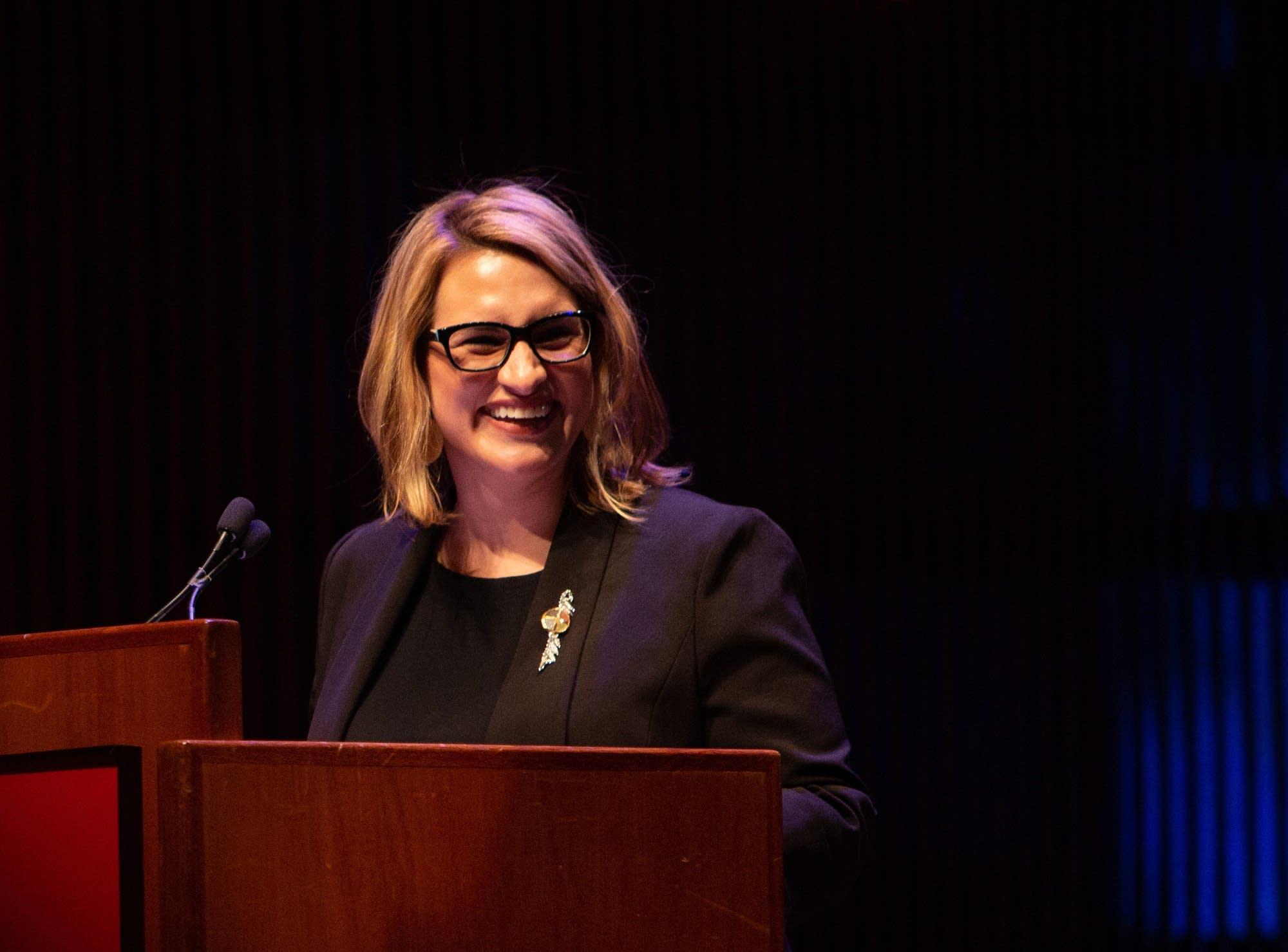 Lt. Gov. Peggy Flanagan speaks during the MLK Day event.