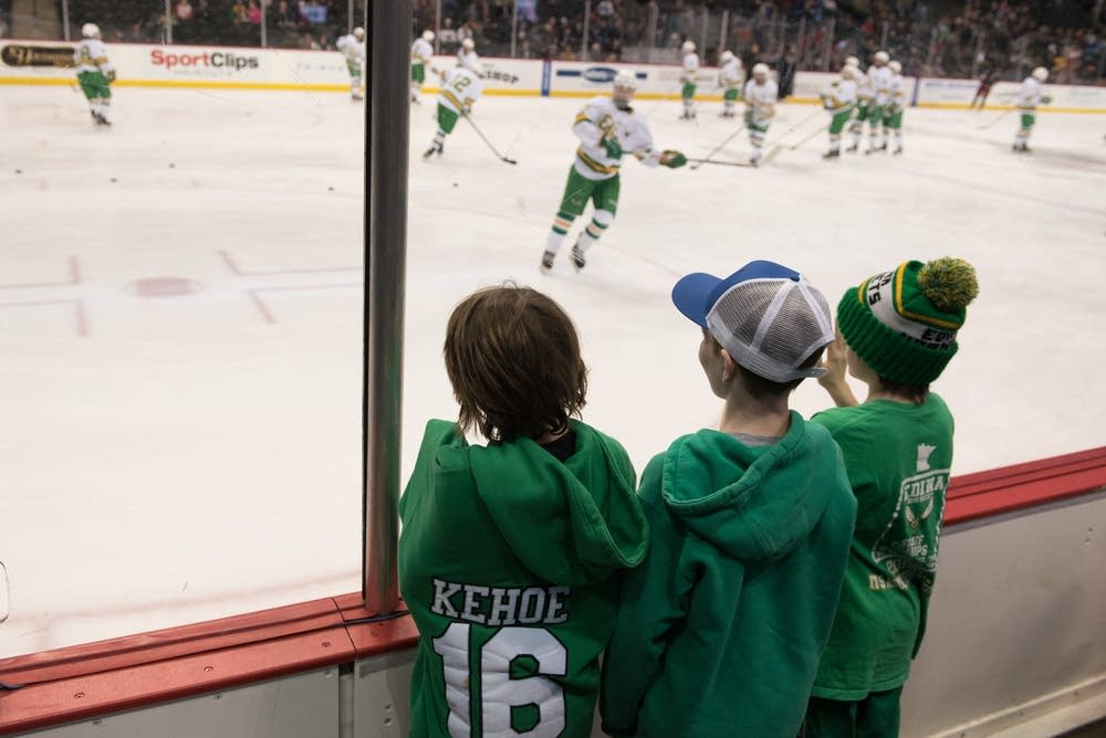 Young Edina hockey players watched warmups.