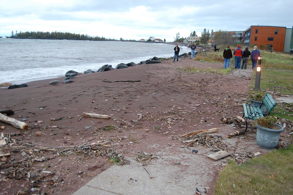 Debris along the shore