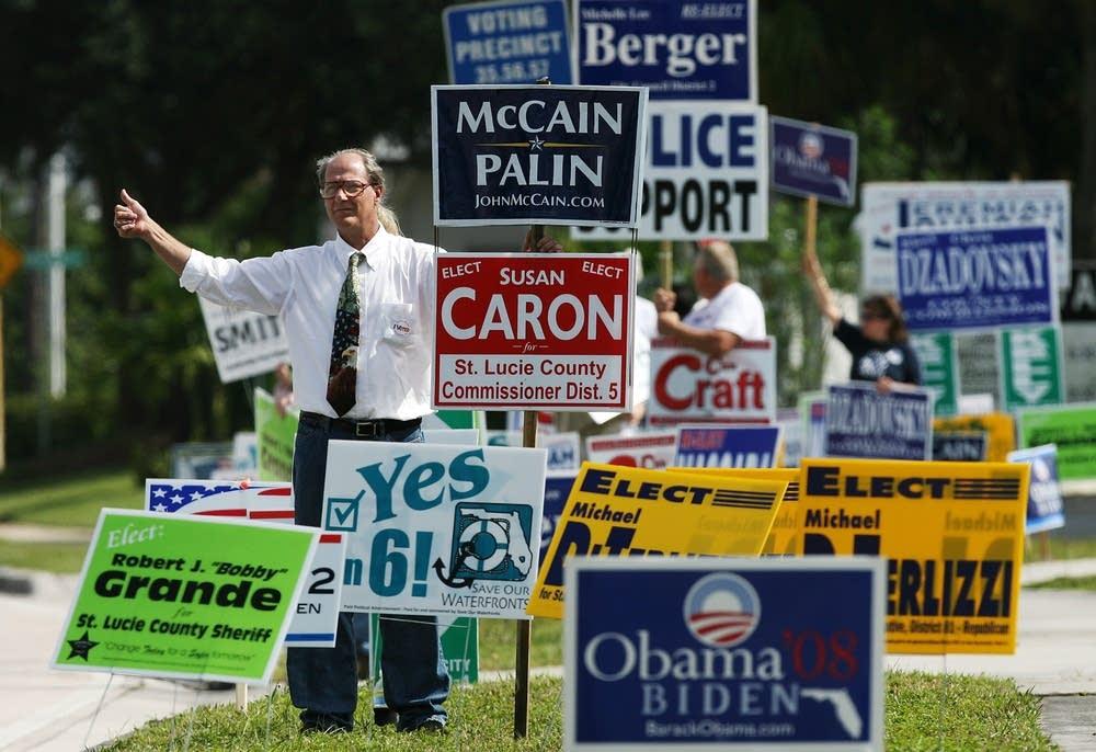 Greeting voters