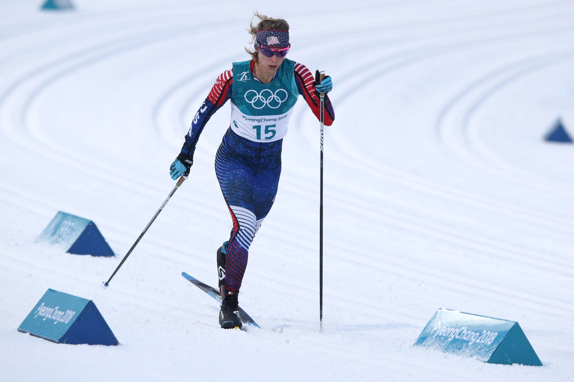 Jessie Diggins competes during the 2018 Olympics.