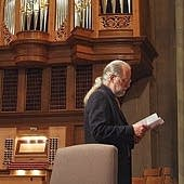 Michael Barone preparing remarks at the Sacred Heart Cathedral, Rochester, NY.