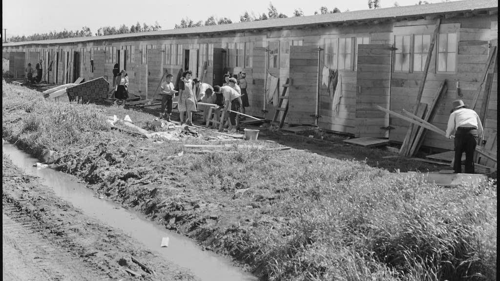 San Bruno, California. Barracks for family living quarters.