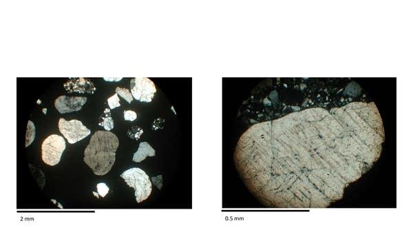 Small grains of shocked quartz