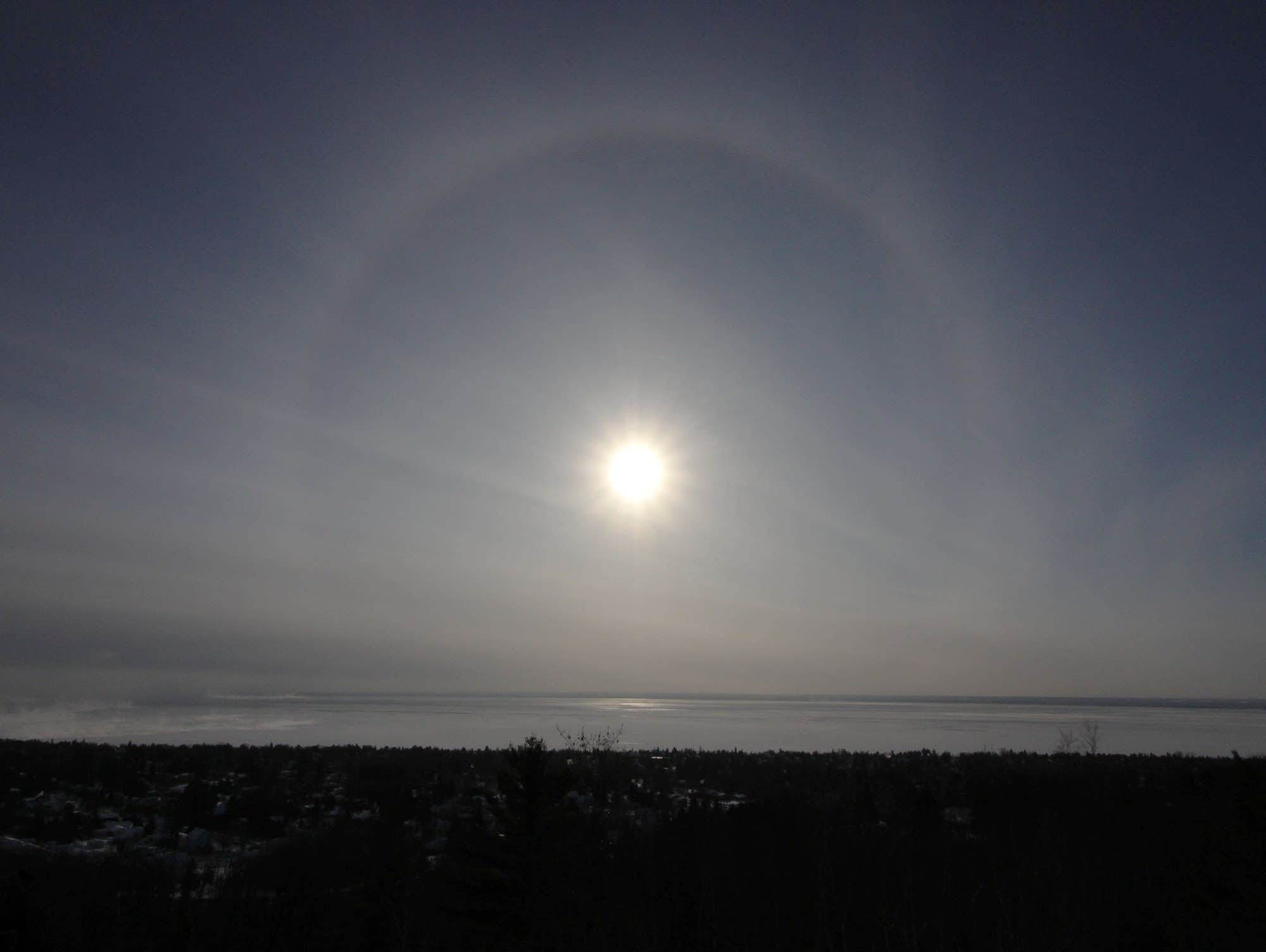 Halo around the sun on a subzero morning in Duluth