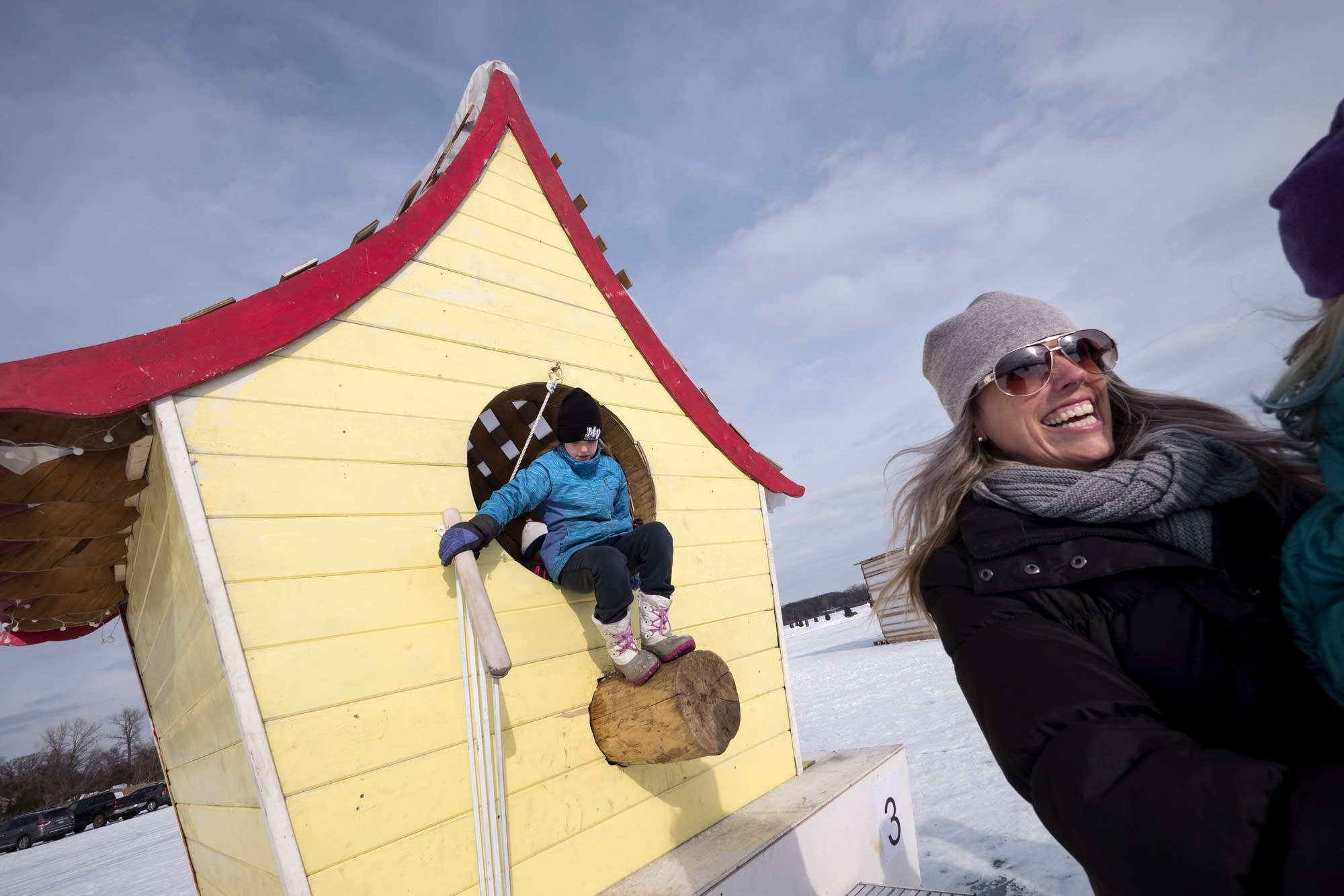 Annika Leafblad, 9, exits the Birdhouse of Arthur J. E. Wren.