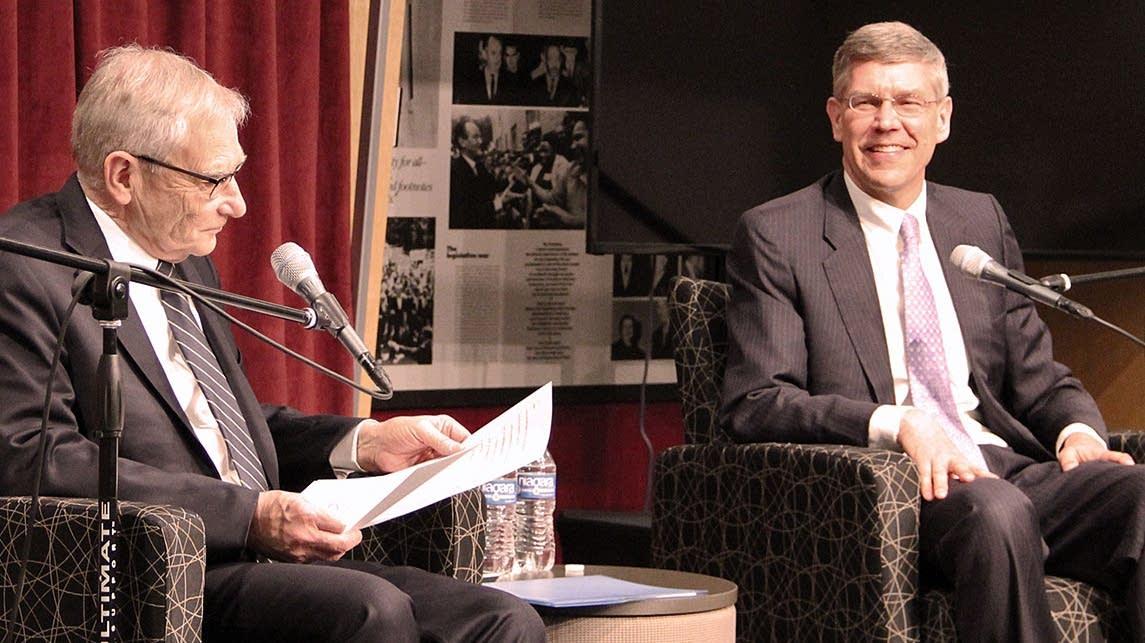 Former MPR host Gary Eichten and former U.S. Rep. Erik Paulsen.