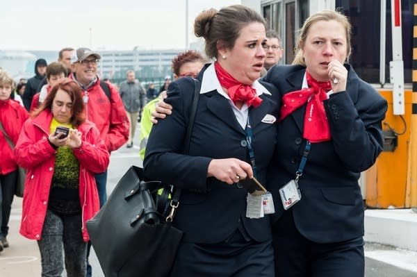 People leave the Brussels airport