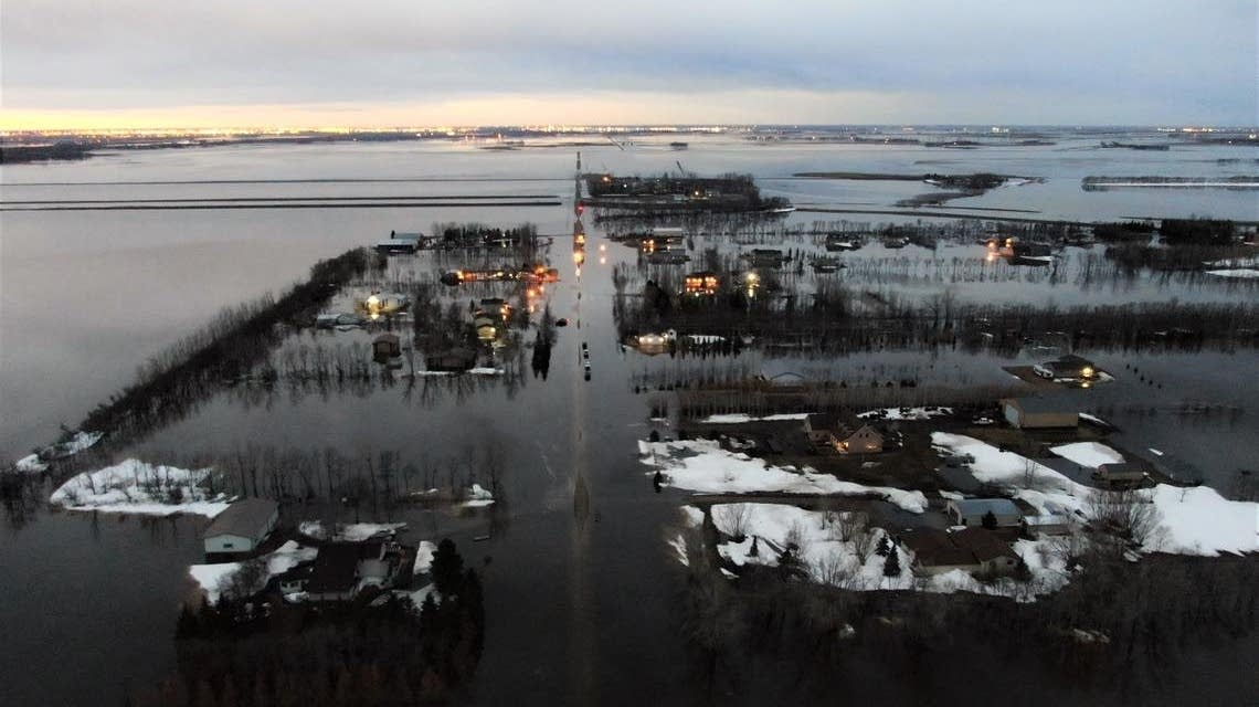 Drone view of Kindred, N.D., flooding