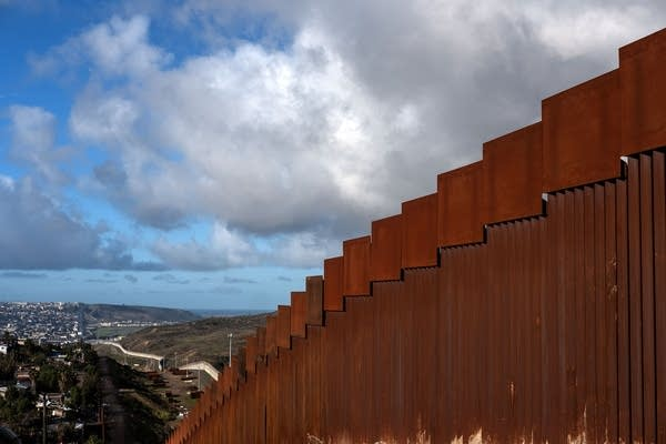 A section of the reinforced U.S.-Mexico border fence.