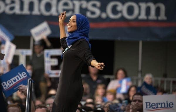 Rep. Ilhan Omar at Sen. Bernie Sanders' St. Paul rally.