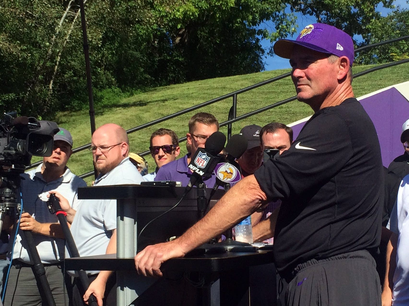 Vikings Head Coach Mike Zimmer talks to reporters.