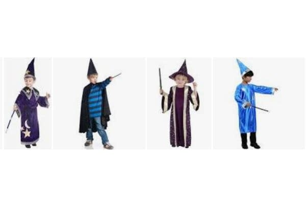 4 grainy images of boys in wizard costumes, the result of a google search