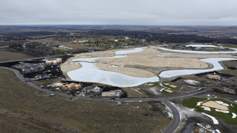 View of a golf course under construction