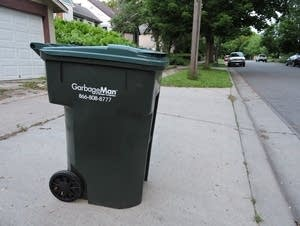 A garbage bin in St. Paul.