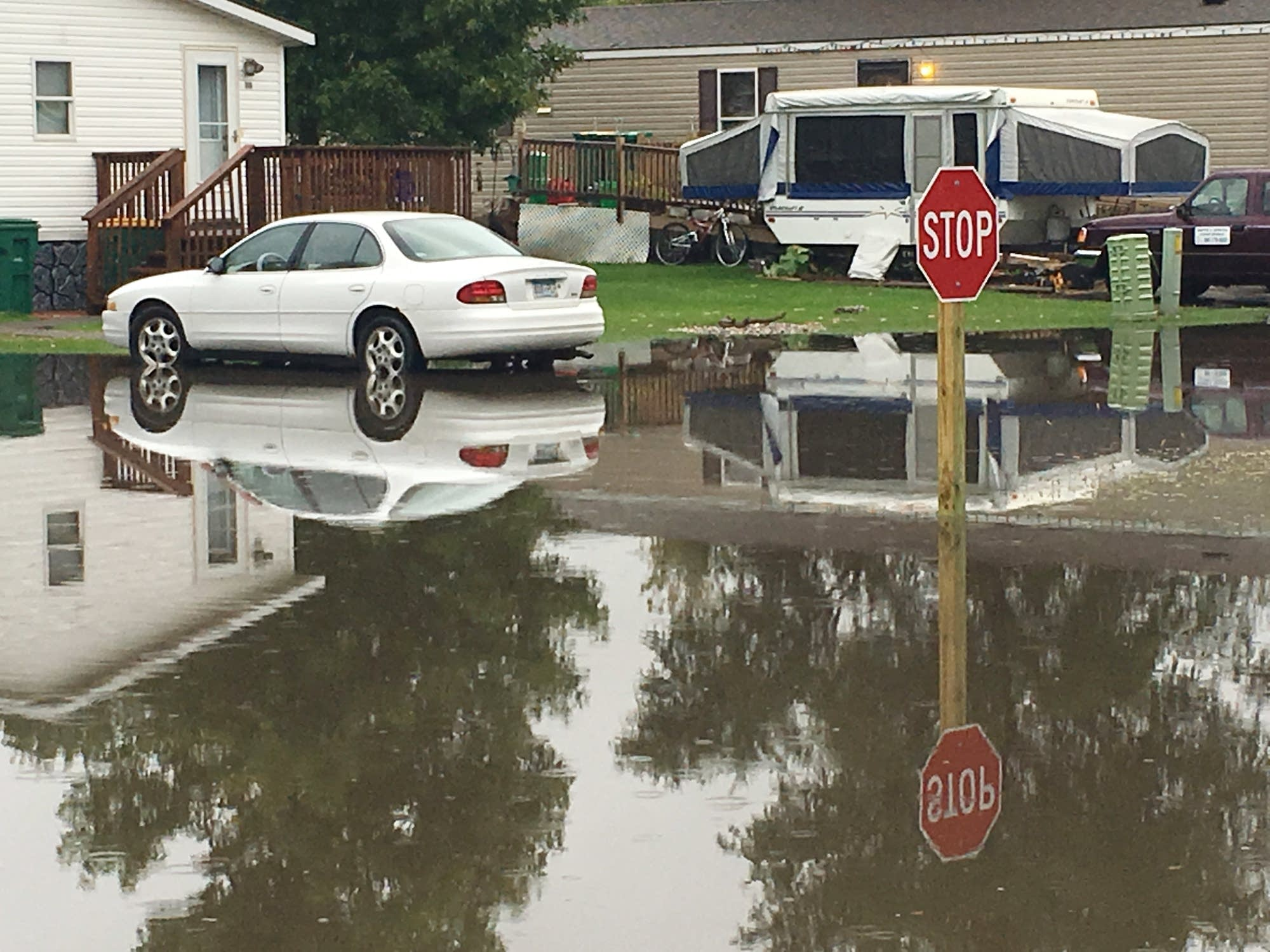 Flooded intersection in Mankato mobile home park.