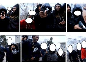 Still frames from a video obtained by police.