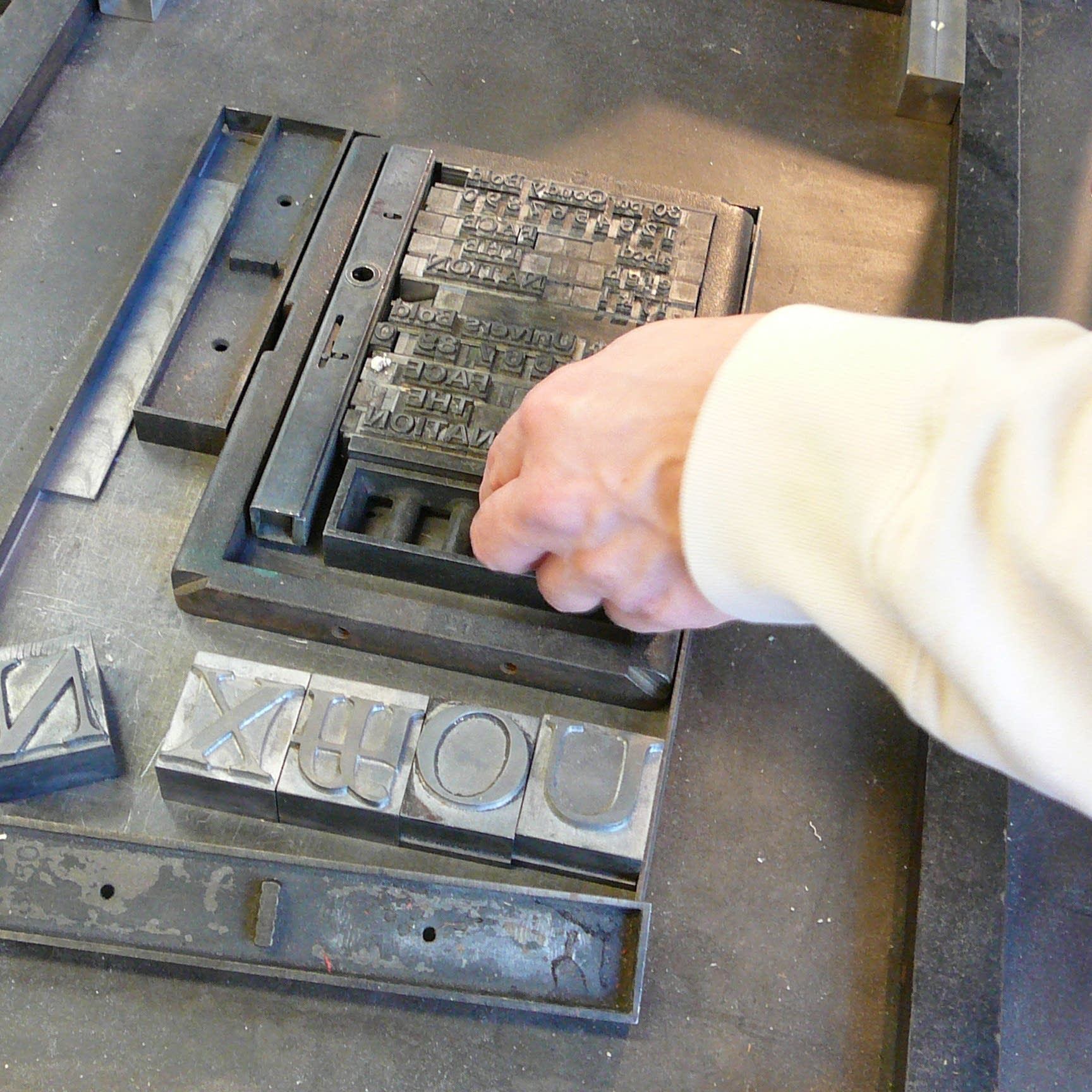 Setting type at Minnesota Center for Book Arts