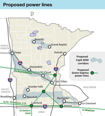 Map: Potential power lines