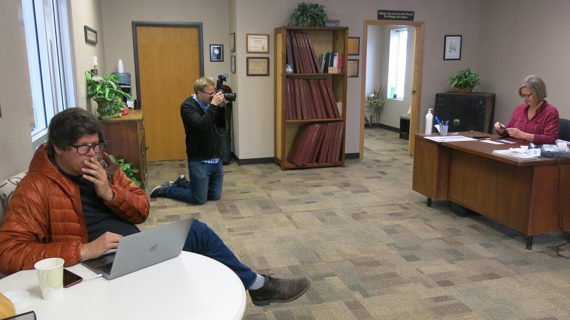 Warroad Pioneer publisher Rebecca Colden does some final paperwork.