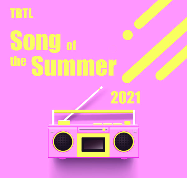 """Square: Pink background, yellow text w/ Boom Box """"TBTL Song of the Summer"""""""