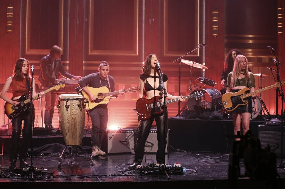 HAIM performing on 'The Tonight Show Starring Jimmy Fallon'