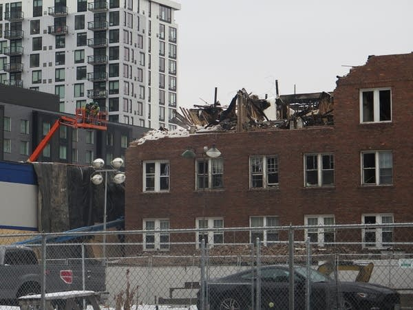 Demolition work on the fire-damaged Francis Drake Hotel