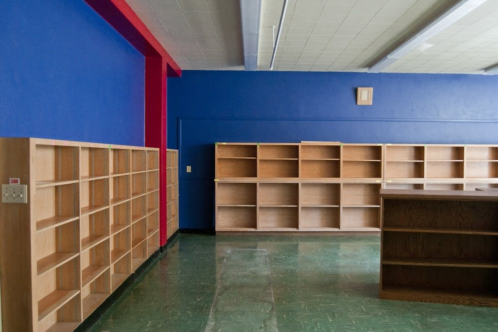 The elementary library shelves in the old school