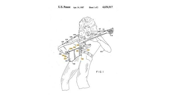 Patent application sketch of Eddie Van Halen with electric guitar device