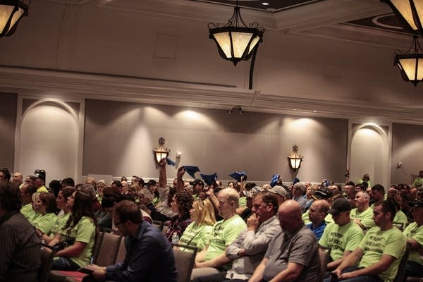The crowd for the public hearing Thursday afternoon