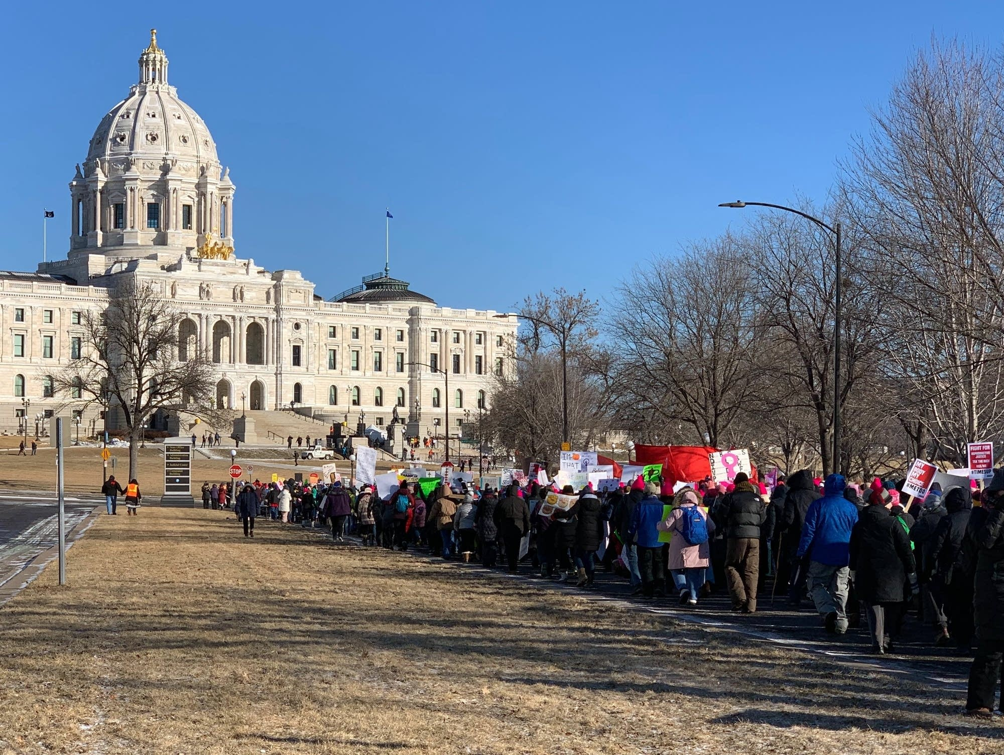 The Women's March Minnesota crowd approaches the State Capitol.
