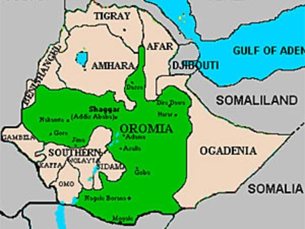 Map of Oromia region of Ethiopia