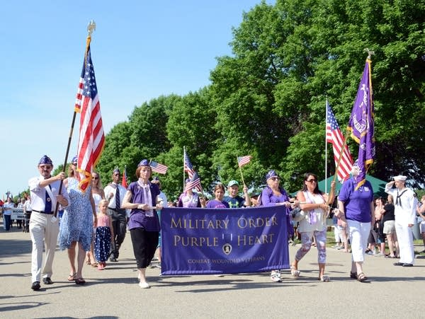 Veterans marched in a short parade.