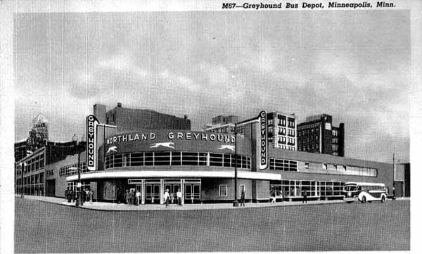 The Greyhound depot in Minneapolis, circa 1940.