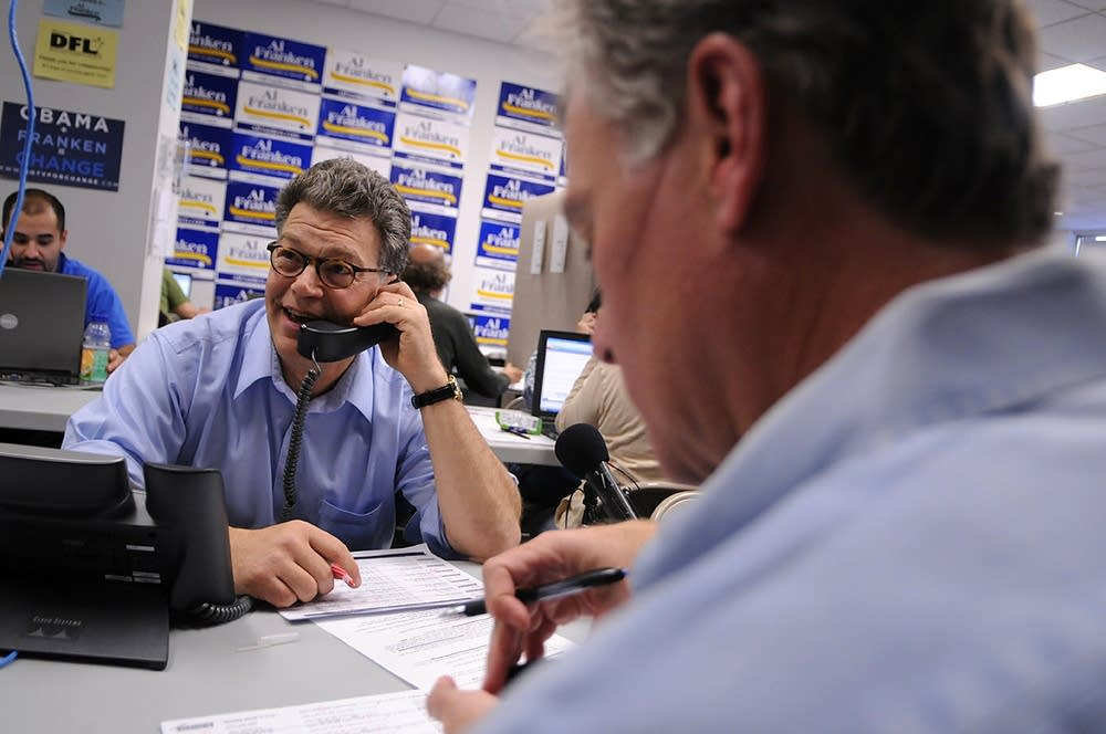 Senate candidate Al Franken works the phones