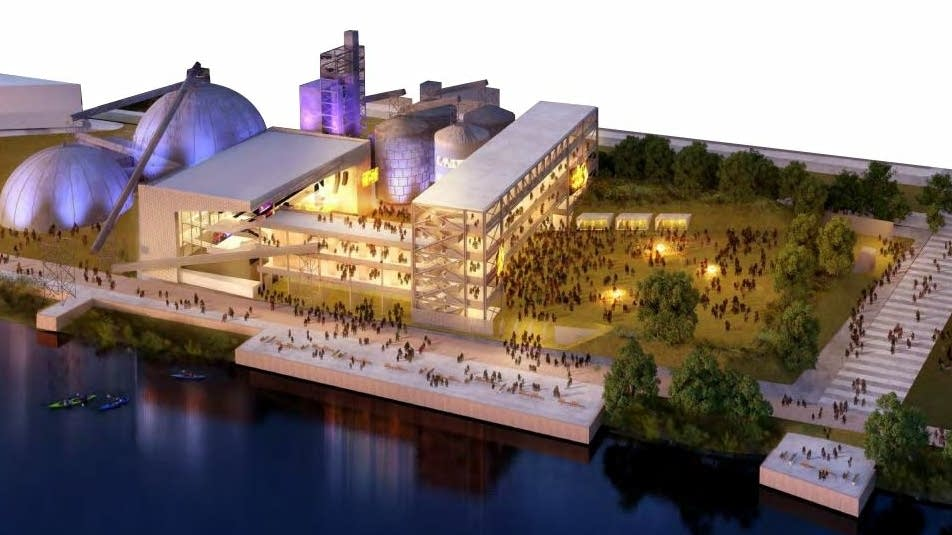 A concept drawing of the Upper Harbor Terminal proposed arts center.