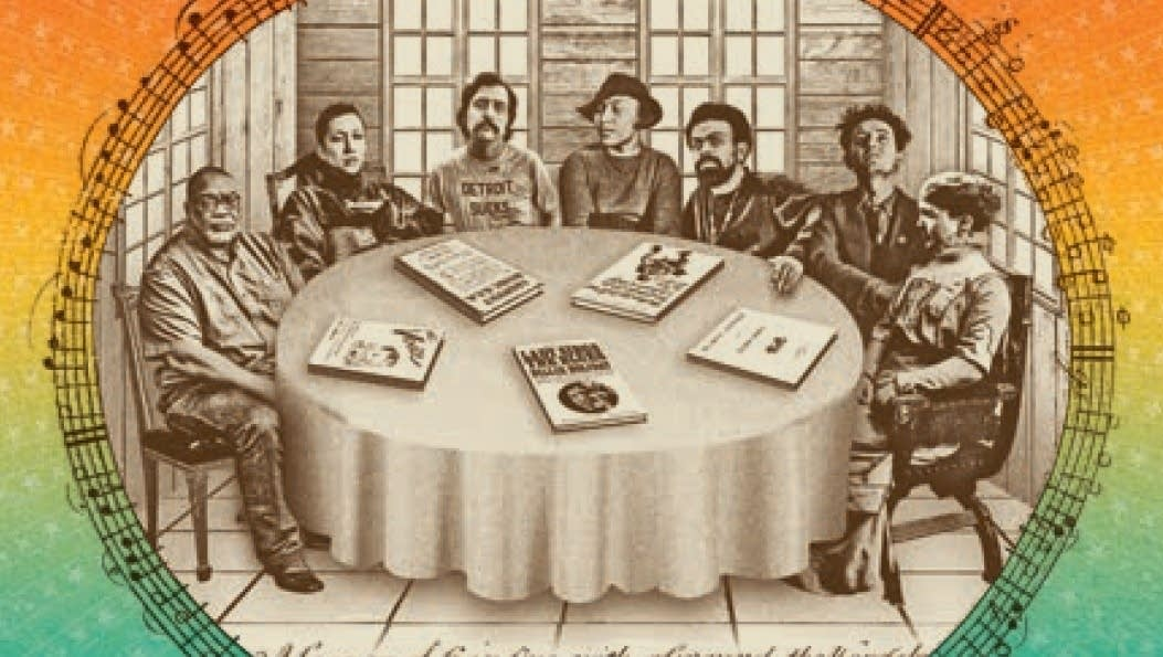 Engraving of people sitting around a round table.