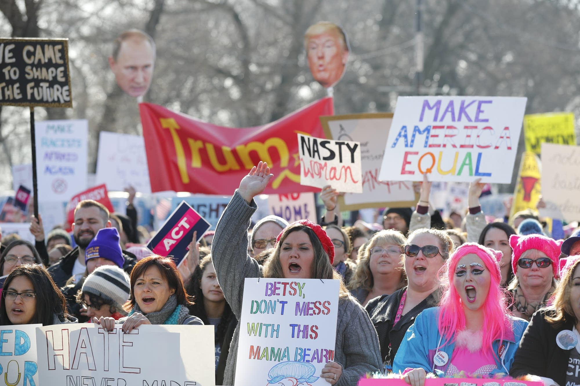 Chicago, Illinois: Protesters cheer at the Women's March.